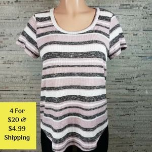 Absolutely Famous High-Lo Striped T-Shirt Medium